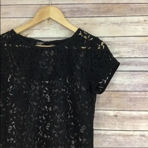 LOFT Nude & Black Lace Short Sleeve Dress